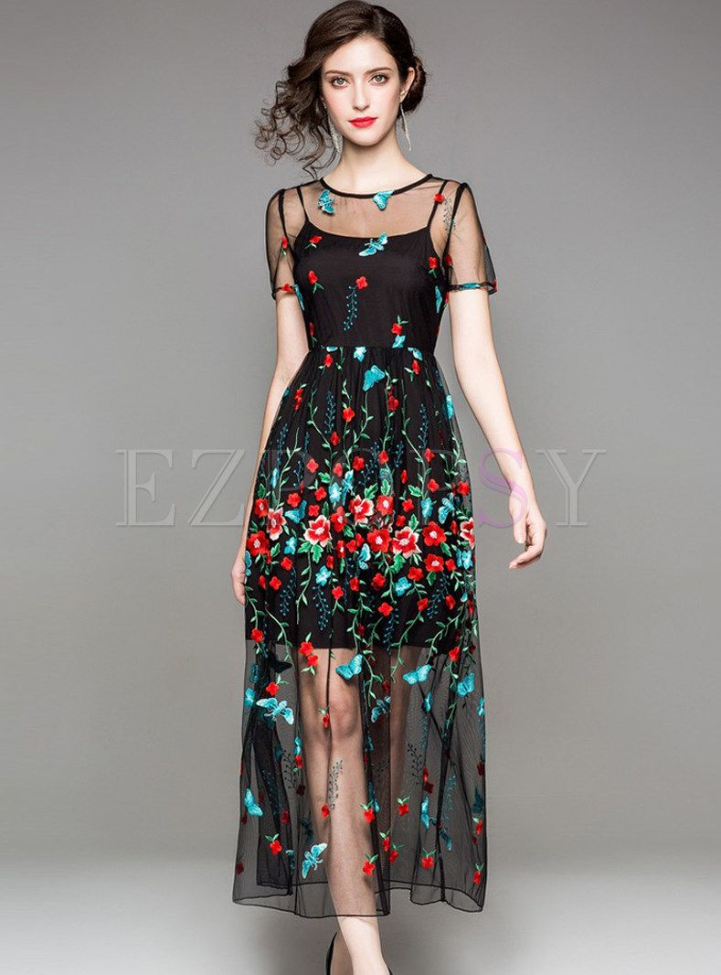 Black see through embroidery prom dress formal dresses pinterest