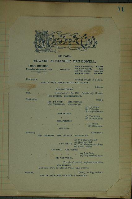 1895 MacDowell Program