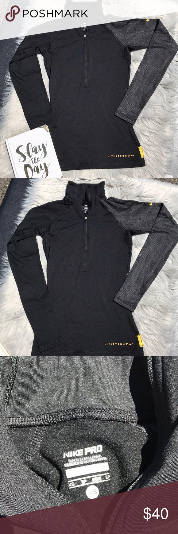 Nike pro black quarter zip pullover sweater in my posh picks