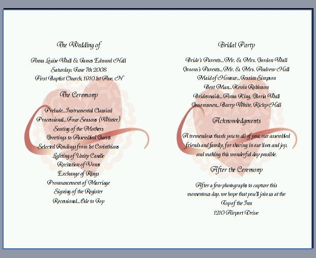 Creative Wedding Program Wording Programs
