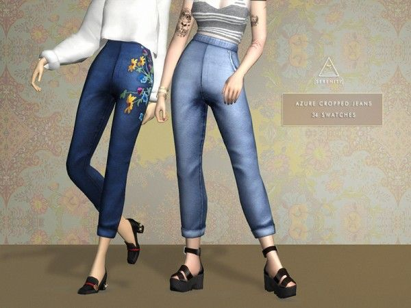 The Sims Resource: Azure Cropped Jeans by serenity-cc • Sims 4 Downloads
