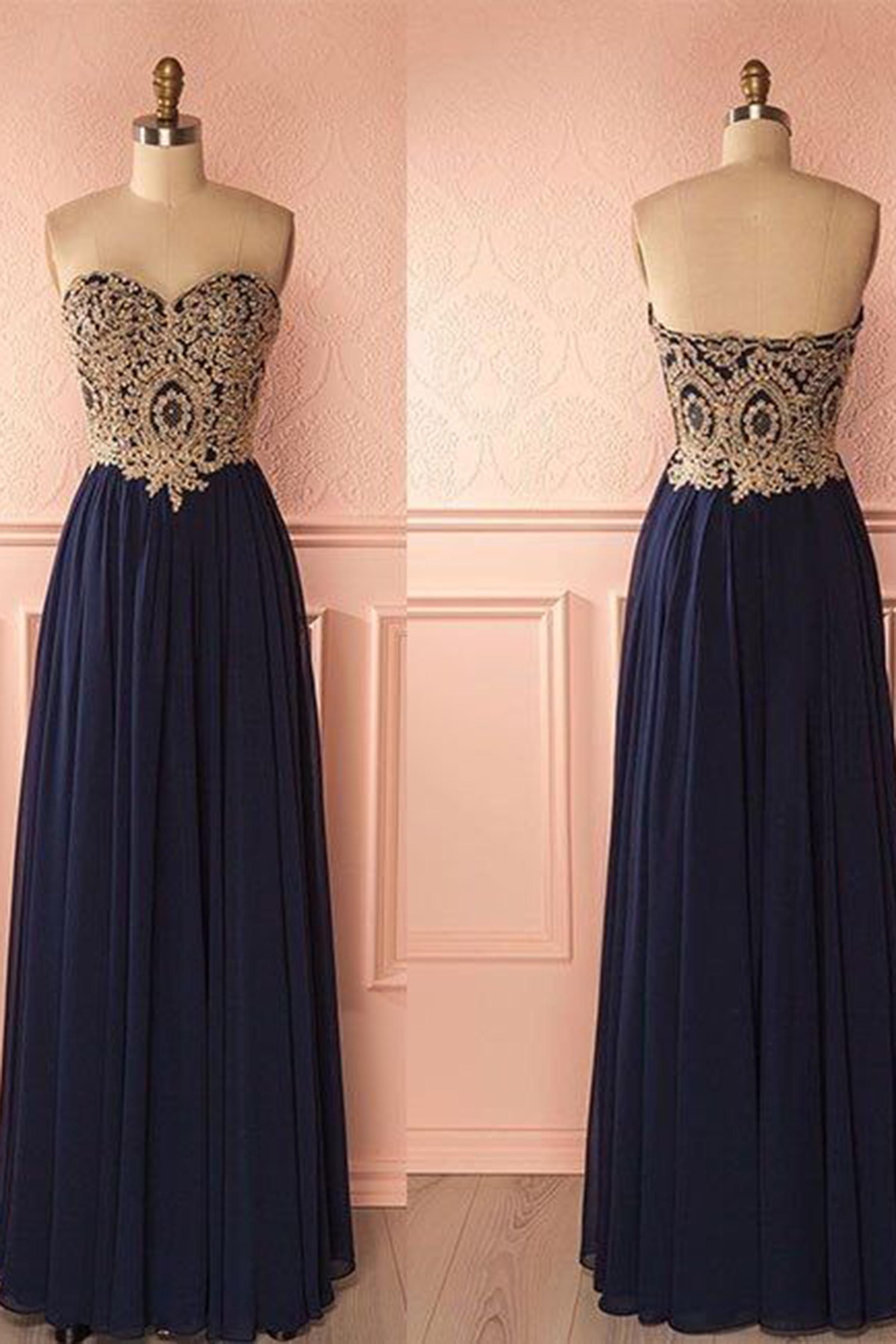 Chiffon prom dress ball gown cute lace top blue chiffon long prom
