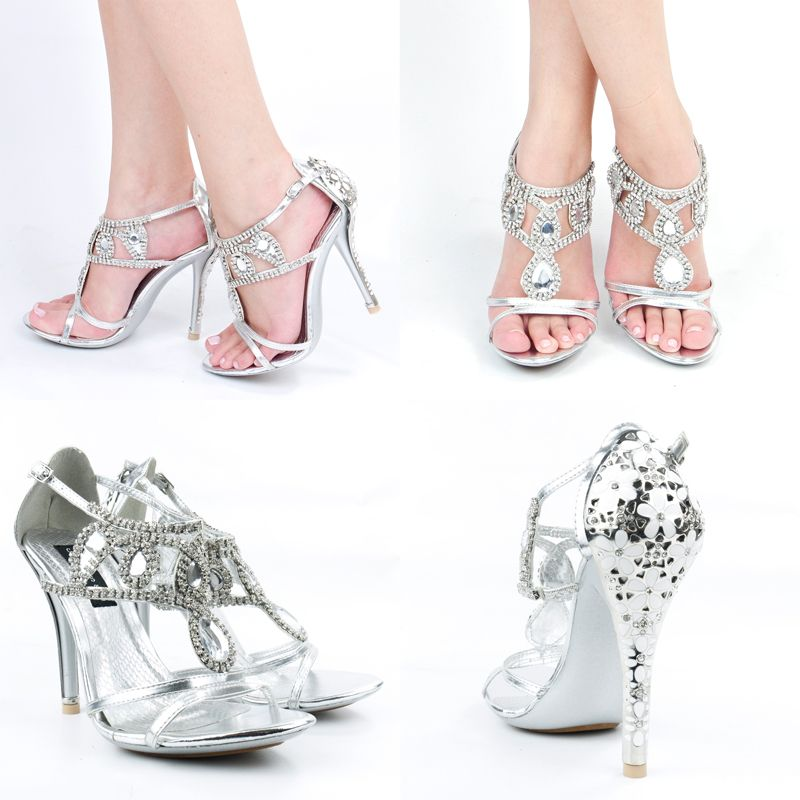 Silver Jeweled High Heels