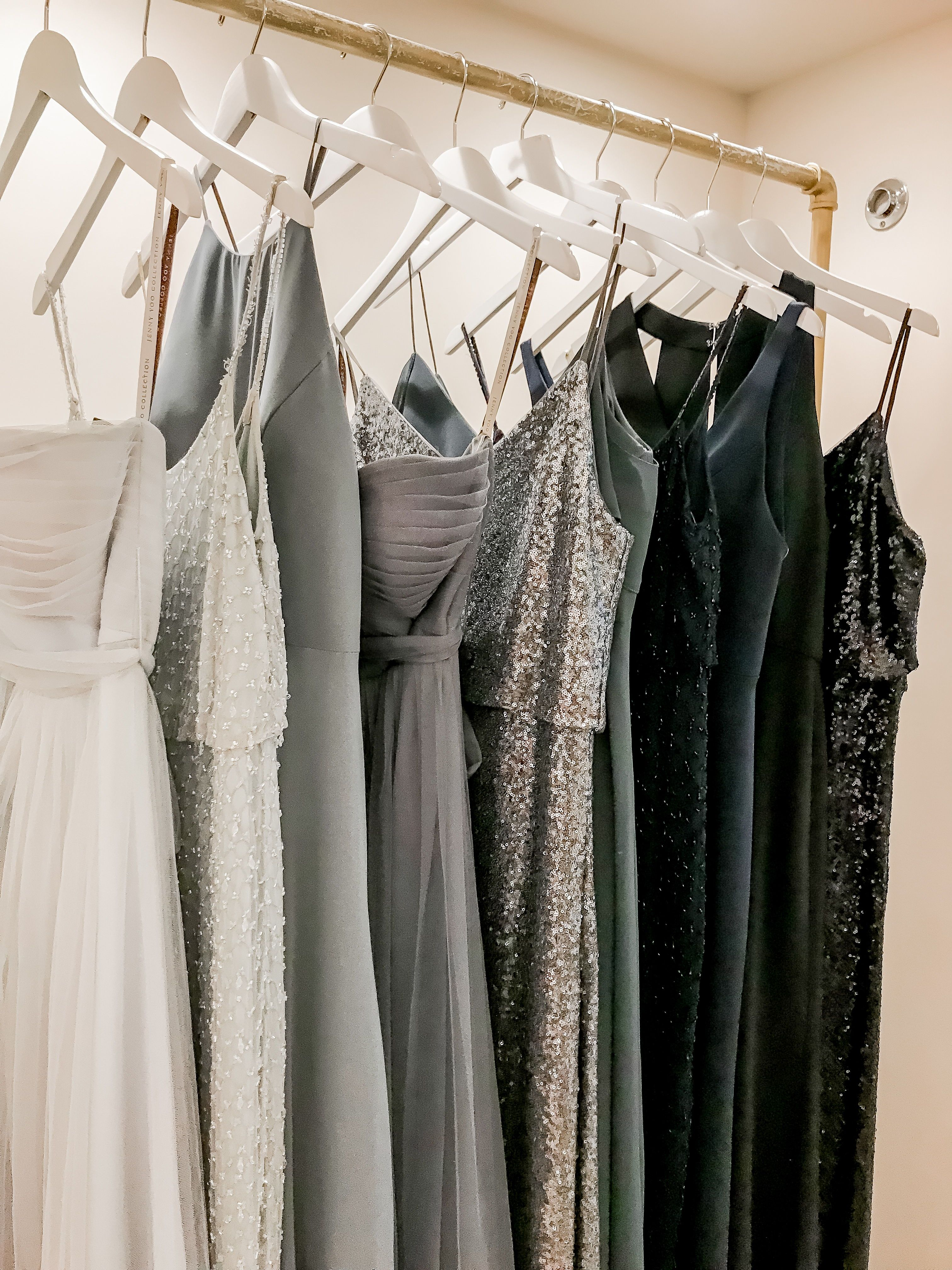 Simply stunning hues of grey and deep blue jenny yoo collection