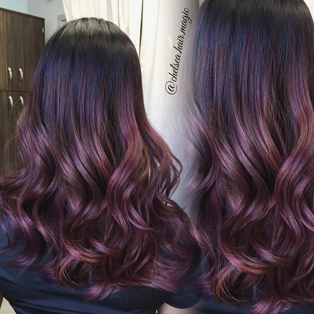 "HOUSTON HAIR STYLIST on Instagram: ""Dimensional plum and rose tones Due to high volume in texts please be patient and allow up to 5-7 days for response! Please schedule your…"""