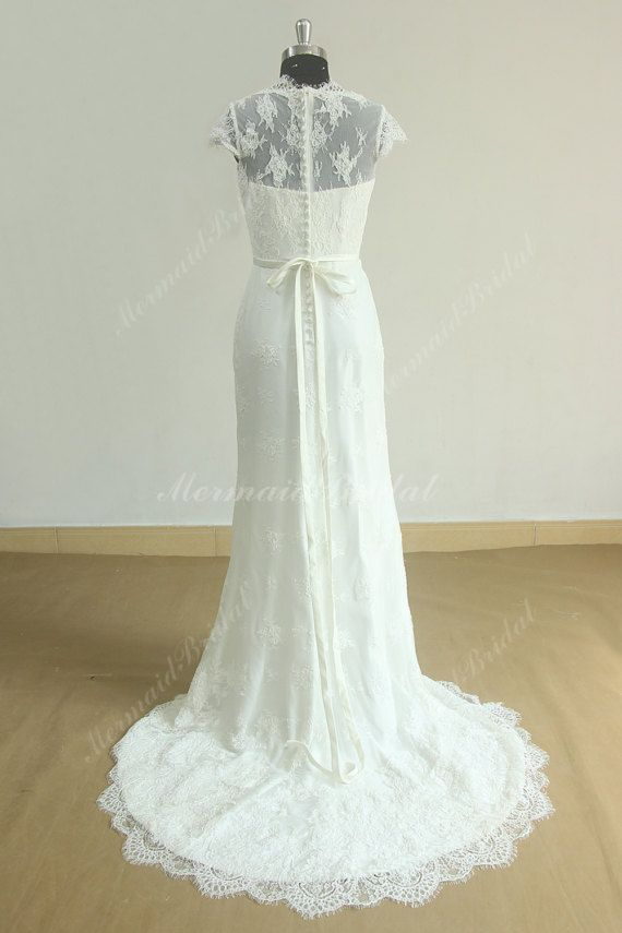 Ivory fit and flare vintage tulle lace wedding dress with capsleeves ...