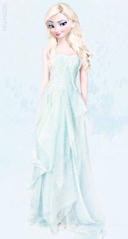 Elsa Nunca Nos Defrauda Vestido Largo Con Pelo Suelto Con