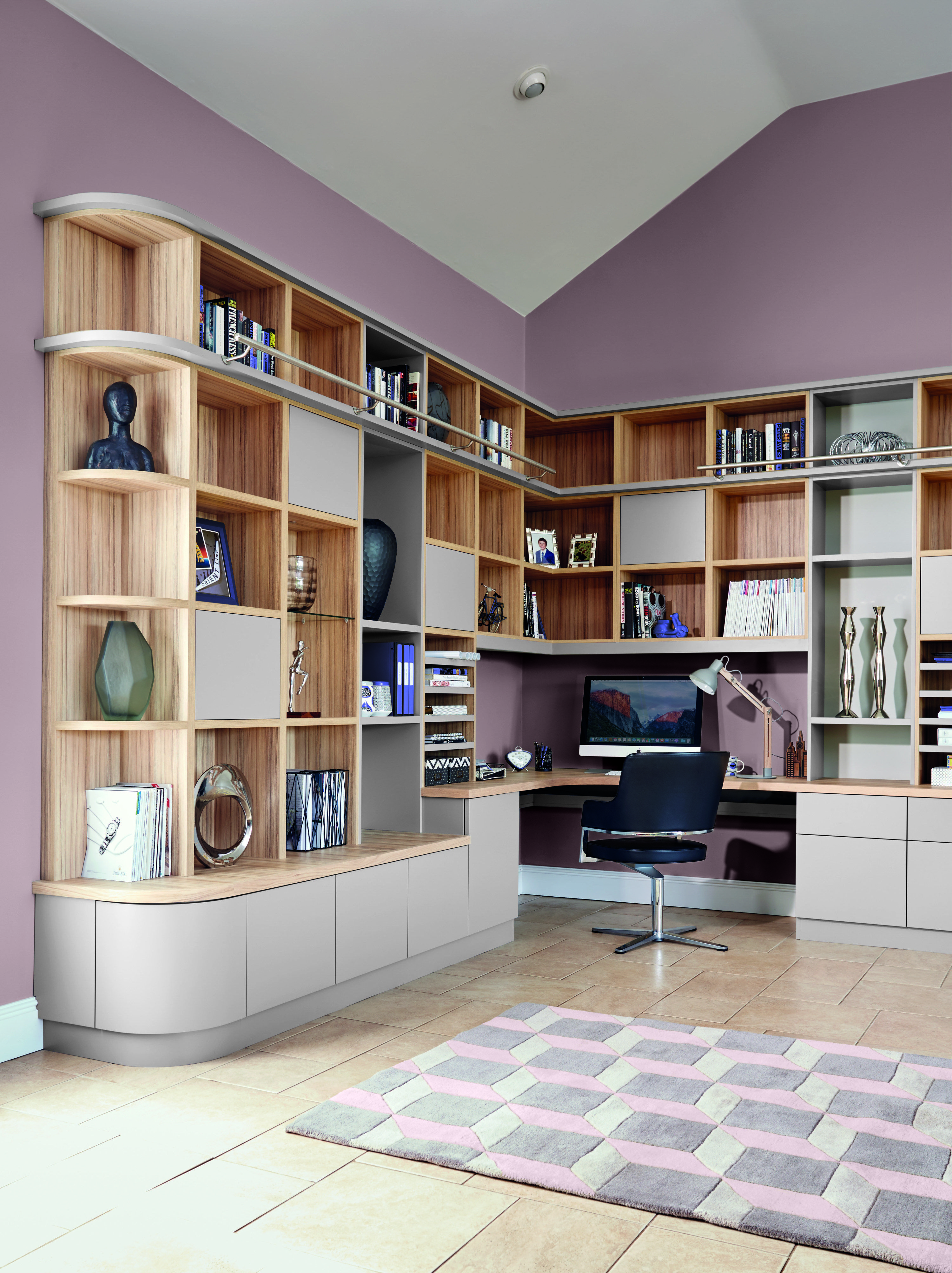 Library Study Room Ideas: Decorating With Colour: Pink And Grey