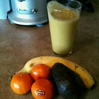 For all my dairy free or vegan friends... a super healthy smoothie!  Banana, small avocado and freshly squeezed OJ make for a yummy calcium rich beverage.