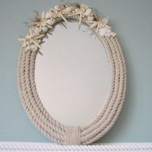 Beach decor shell mirror nautical rope oval w do it yourself beach decor shell mirror nautical rope oval w solutioingenieria Image collections