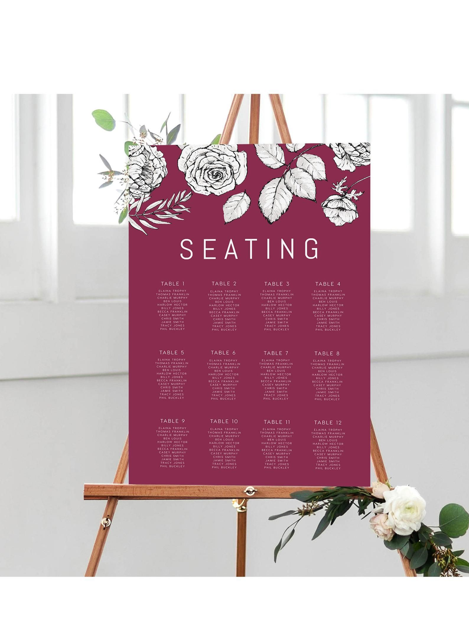 Seating Chart Instant Download Portrait Sign Signage Table Etsy Seating Charts Seating Chart Template Wedding Signage
