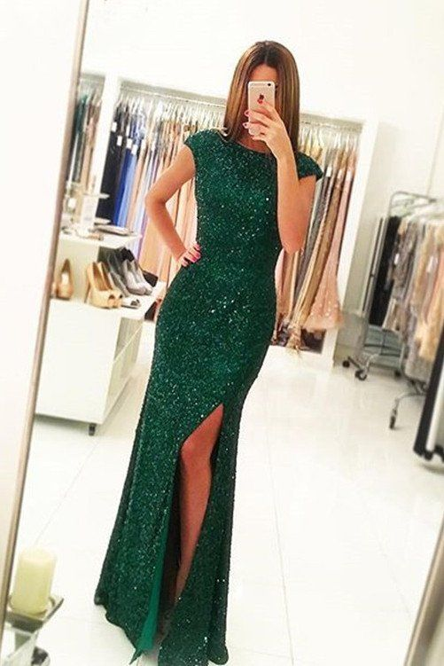 Sexy Side Slit Cap Sleeves Emerald Green Sequins Open Back Mermaid ...