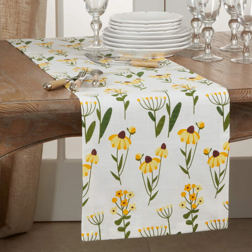 Lovely Floral Print 100 Cotton Table Runner 16 X 72 Inch Blue Flower Table Cover For Home Dining Room Decor Family Gathering Spring Summer Events And Special Occasion Floral Prints Table Linens Floral