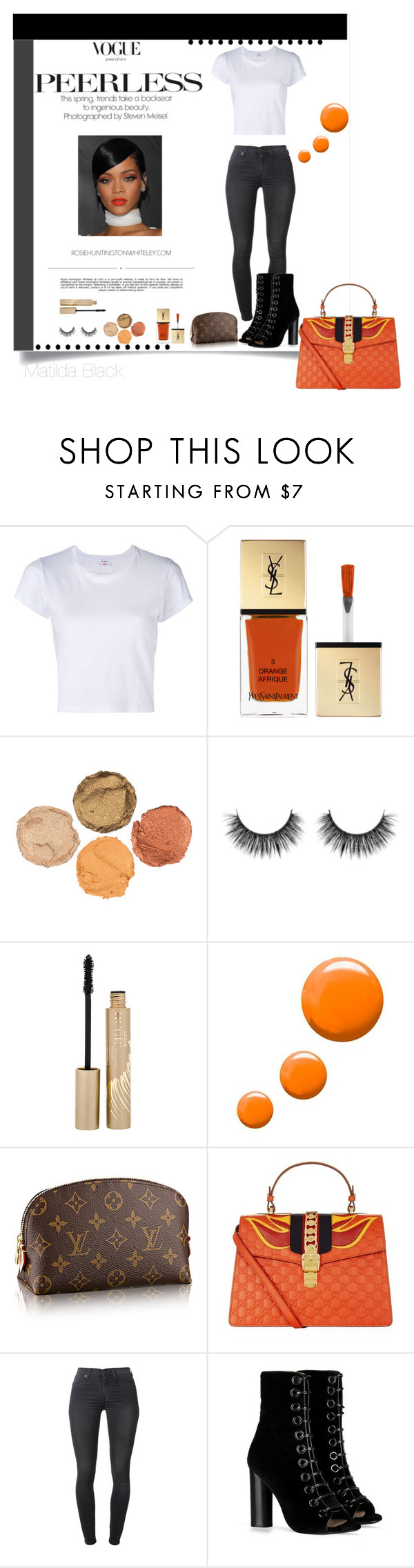"""Untitled #93"" by matildablack on Polyvore featuring RE/DONE, Whiteley, Yves Saint Laurent, Stila, Topshop, Gucci, 7 For All Mankind, Barbara Bui, StreetStyle and CasualChic"
