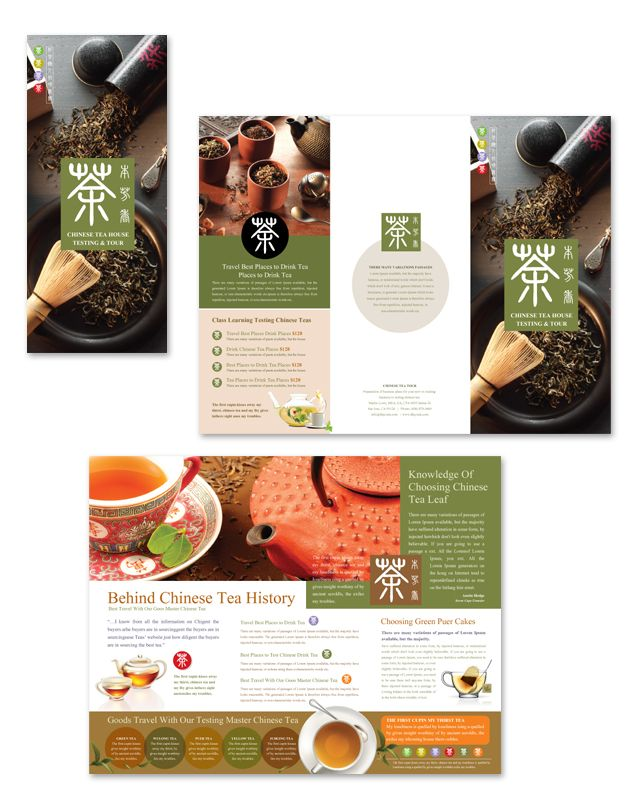 chinese tea house tri fold brochure template