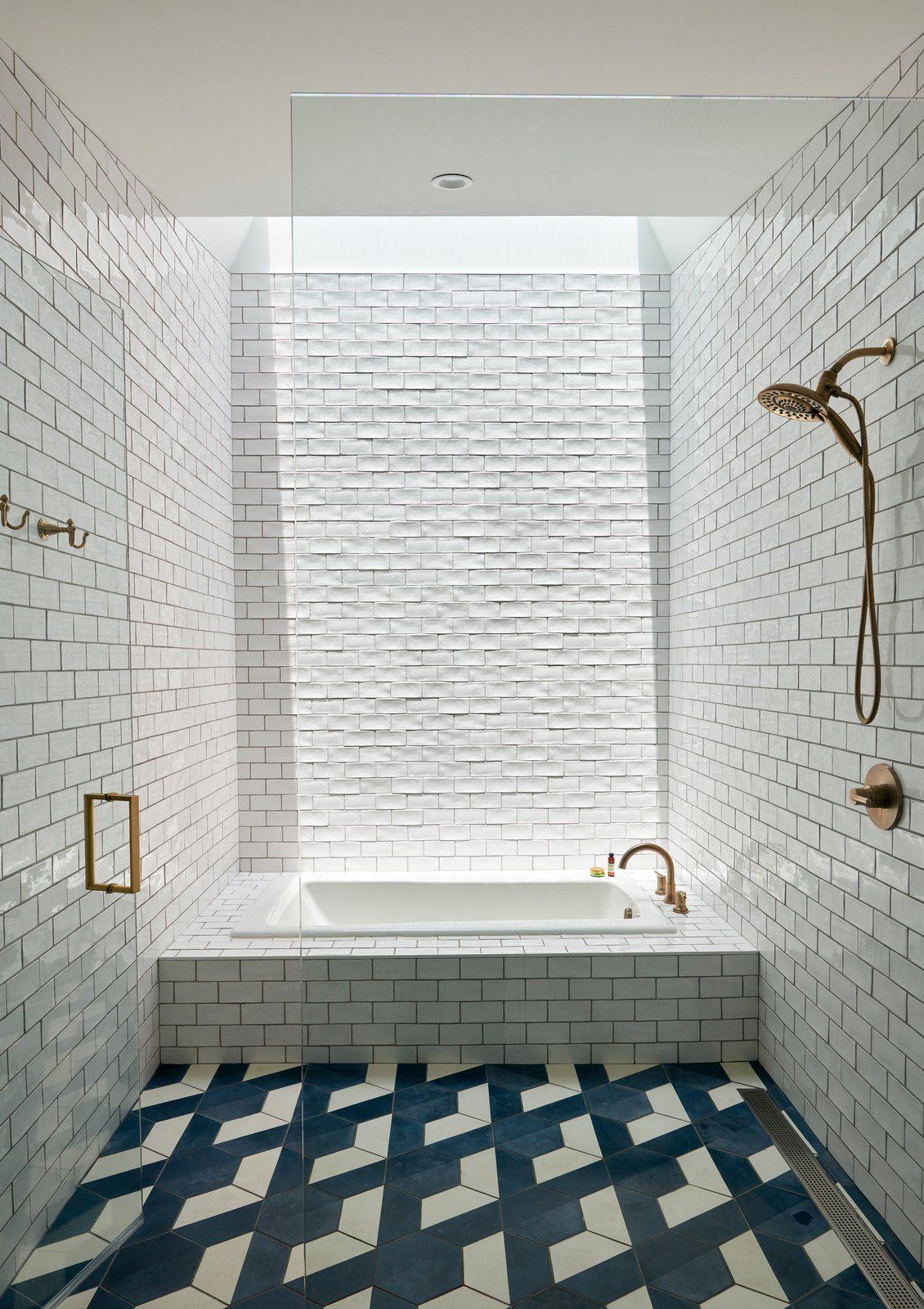 Photo 10 Of 11 In An Angular Austin Home Makes Way For Heritage Oak Bathtub Tile Floor Tile Design Modern Bathroom