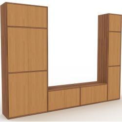 Photo of Wohnwand Nussbaum – Individuelle Designer-Regalwand: Türen in Eiche – Hochwertige Materialien – 265