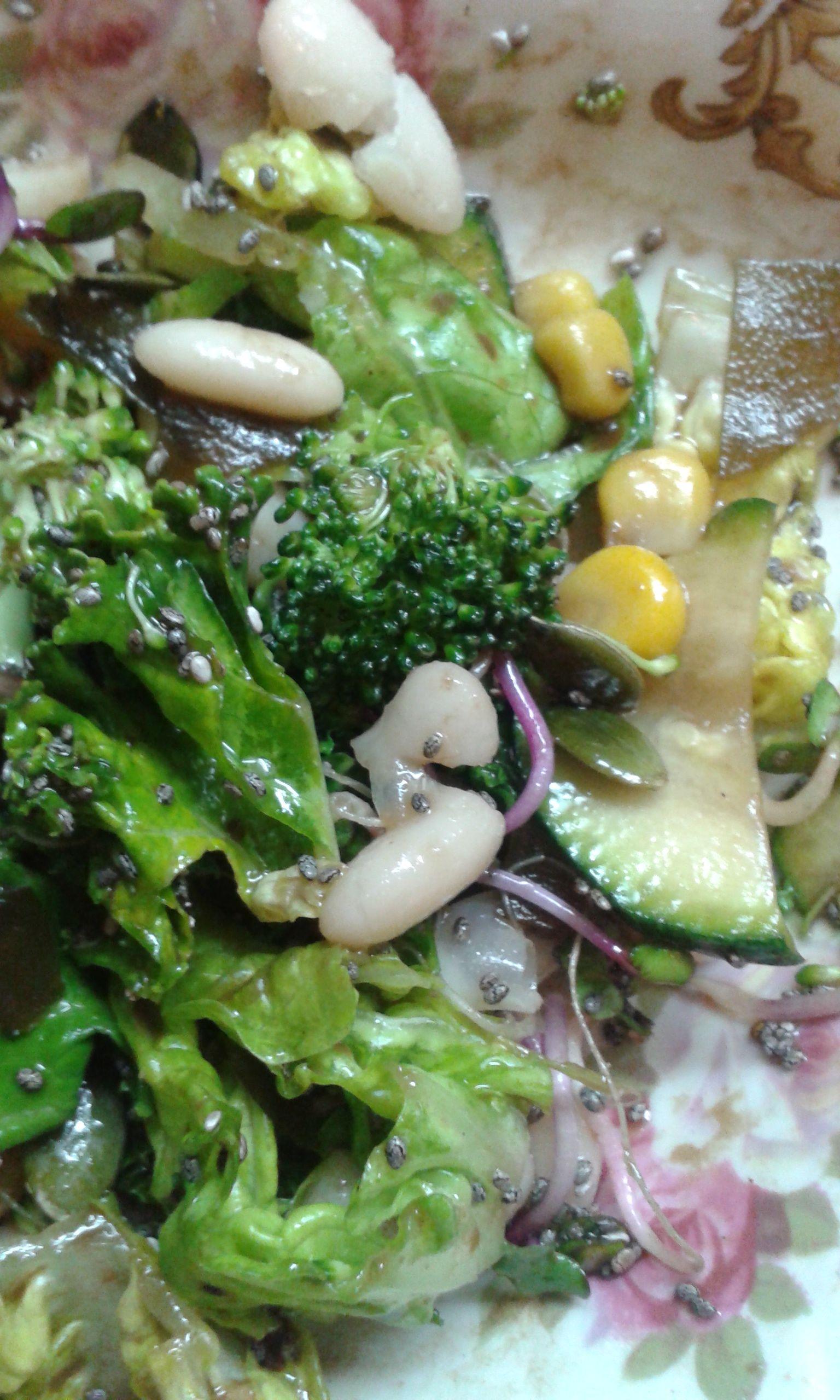"""Ensalada de kale, alubias del """"Ganxet"""", brotes de rábano, calabacín, maíz, alga kombe, brócoli, con semillas de calabaza y semillas de chía."""
