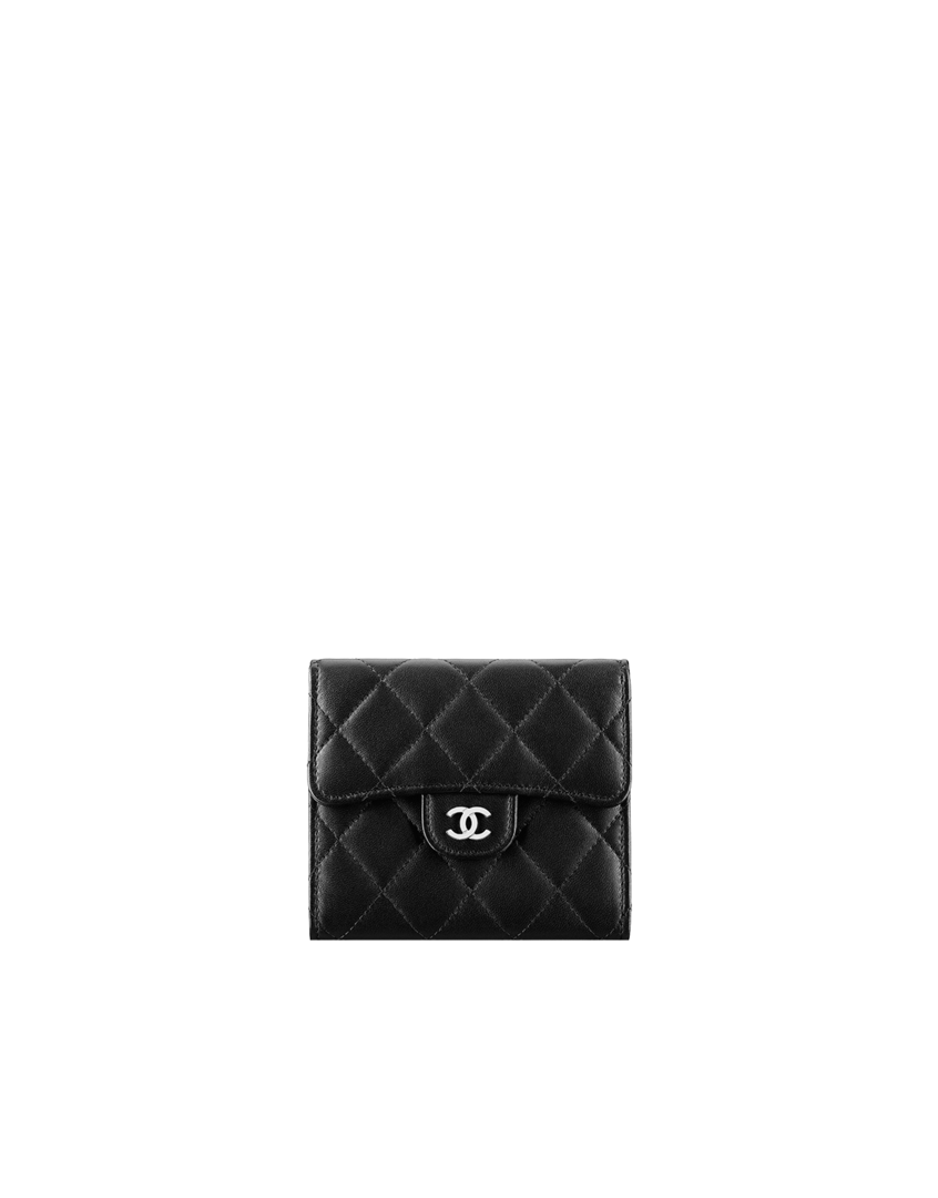 bdbf86ad3d25d3 Small wallet, lambskin & silver metal-black & burgundy - CHANEL ...