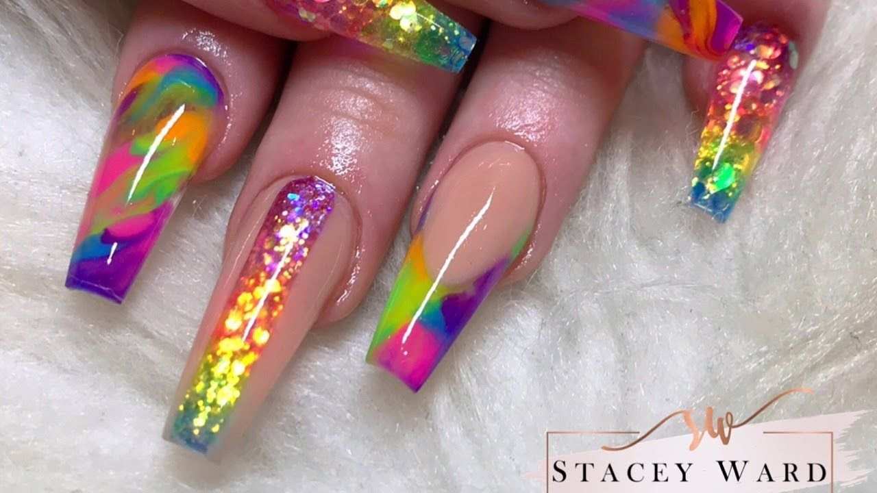 Colour Block Rainbow Acrylic Nails Youtube With Images