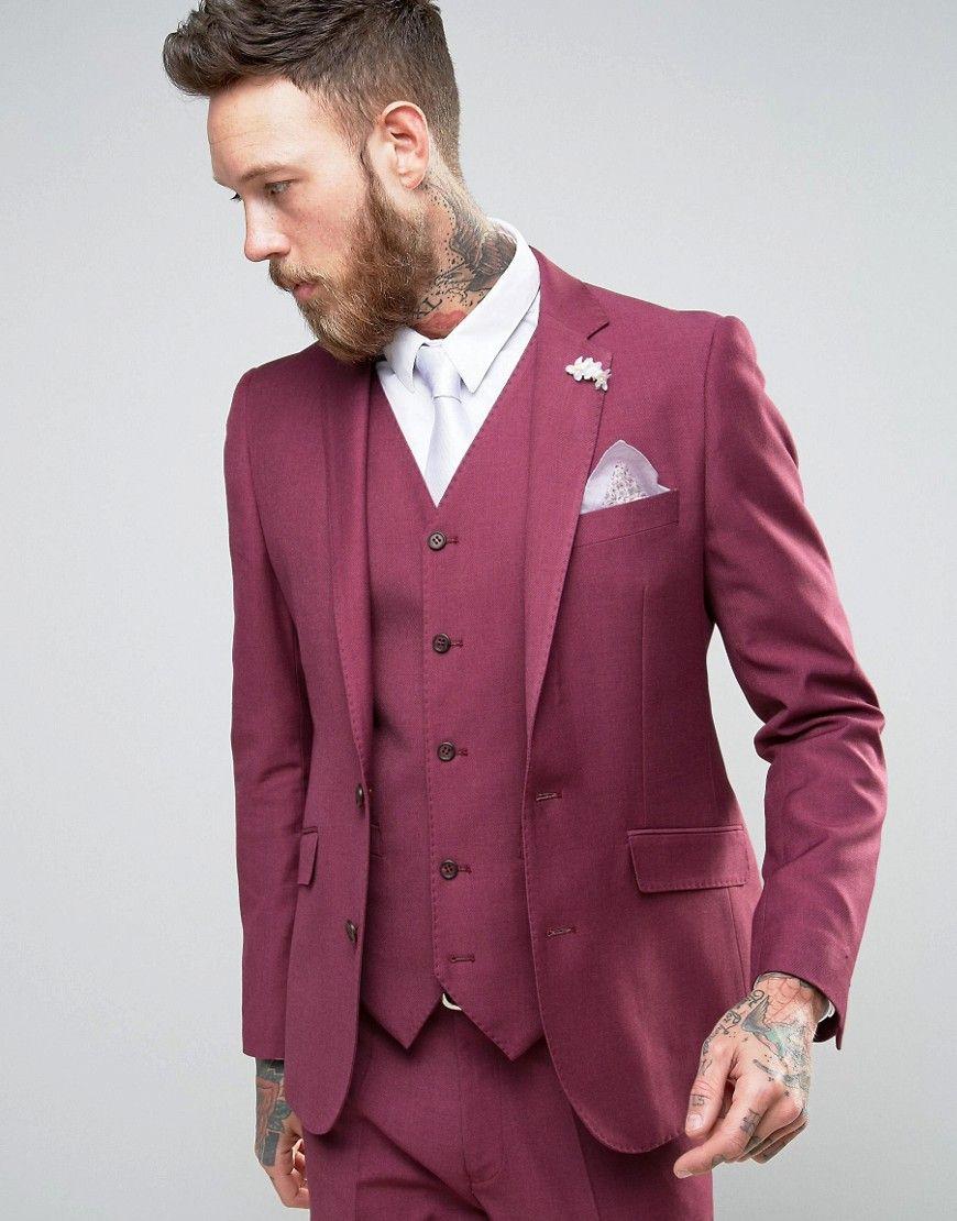 Devils Advocate Wedding Skinny Fit Burgundy Pink Suit Jacket With ...