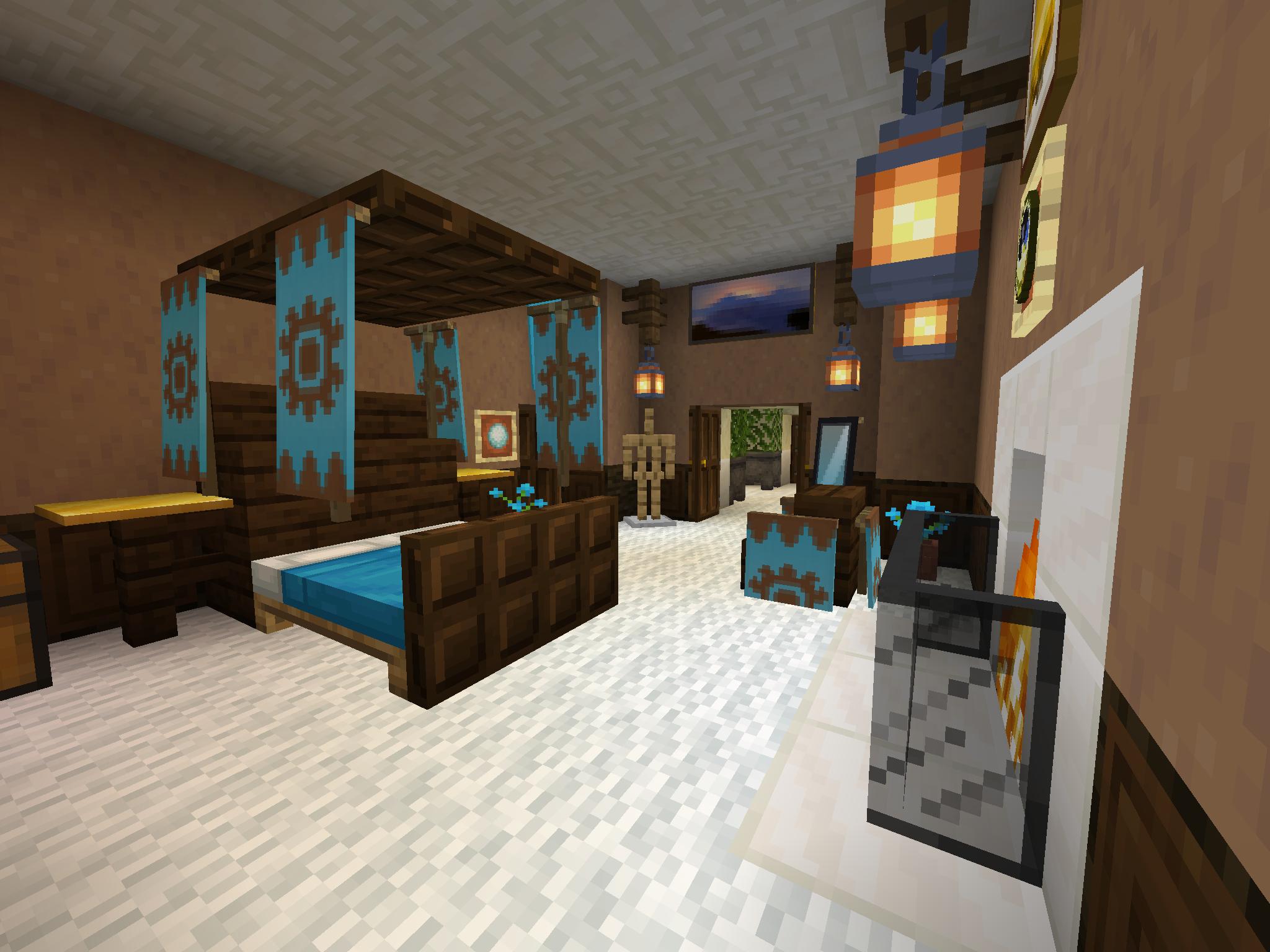 Fireplace Master Bedroom Minecraft Room Minecraft Bed