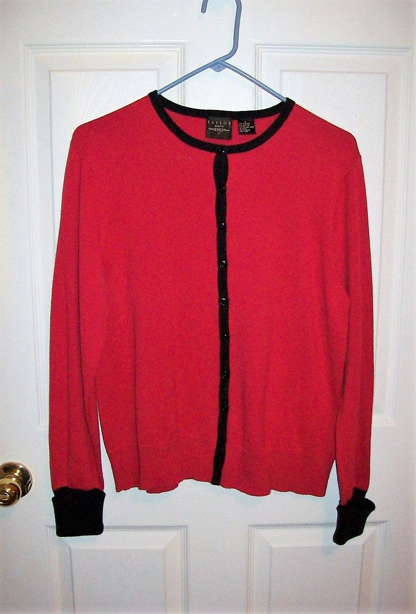 Vintage Ladies Red Cardigan Sweater Tailor by B Moss Large Only 6 ...