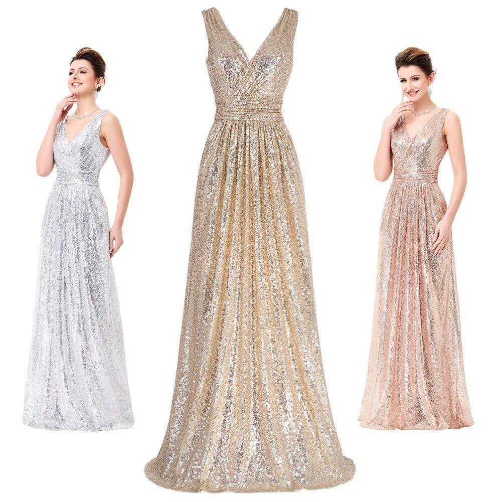 Vneck sequins cocktail party dress formal evening bridesmaid