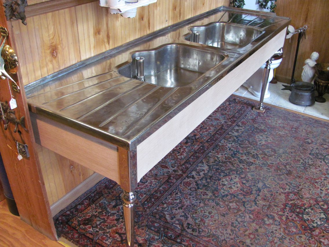 Holy Hannah! 1912 German silver sink with legs.   Early 20th ...