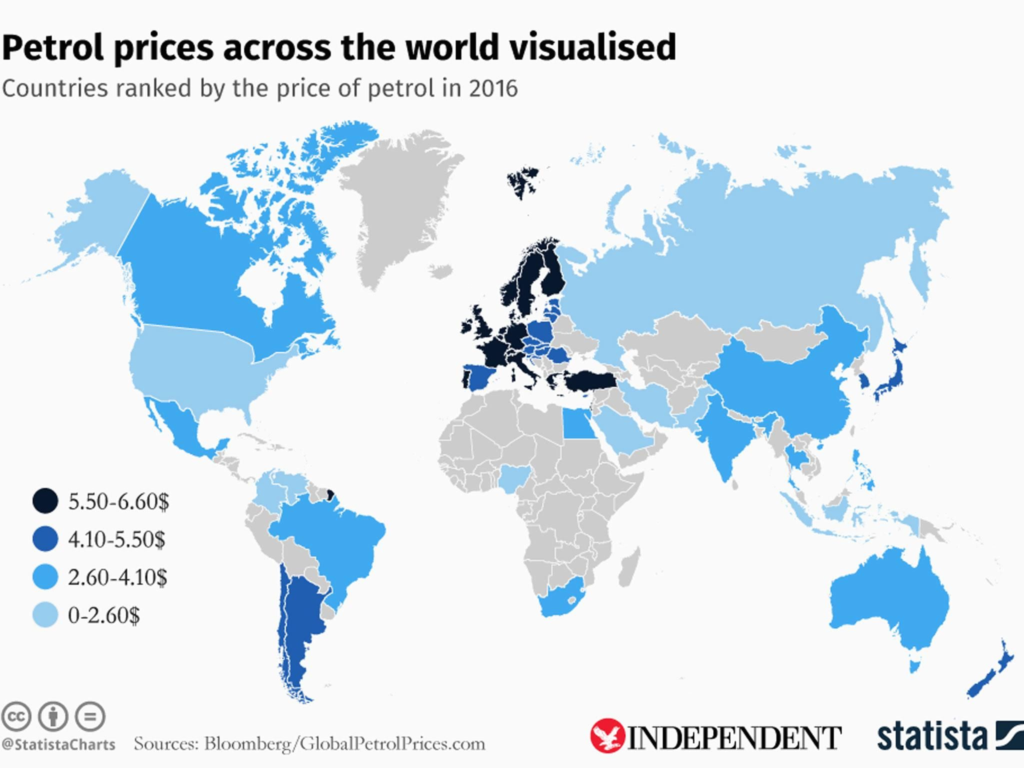 The map that shows the most expensive countries to fill up