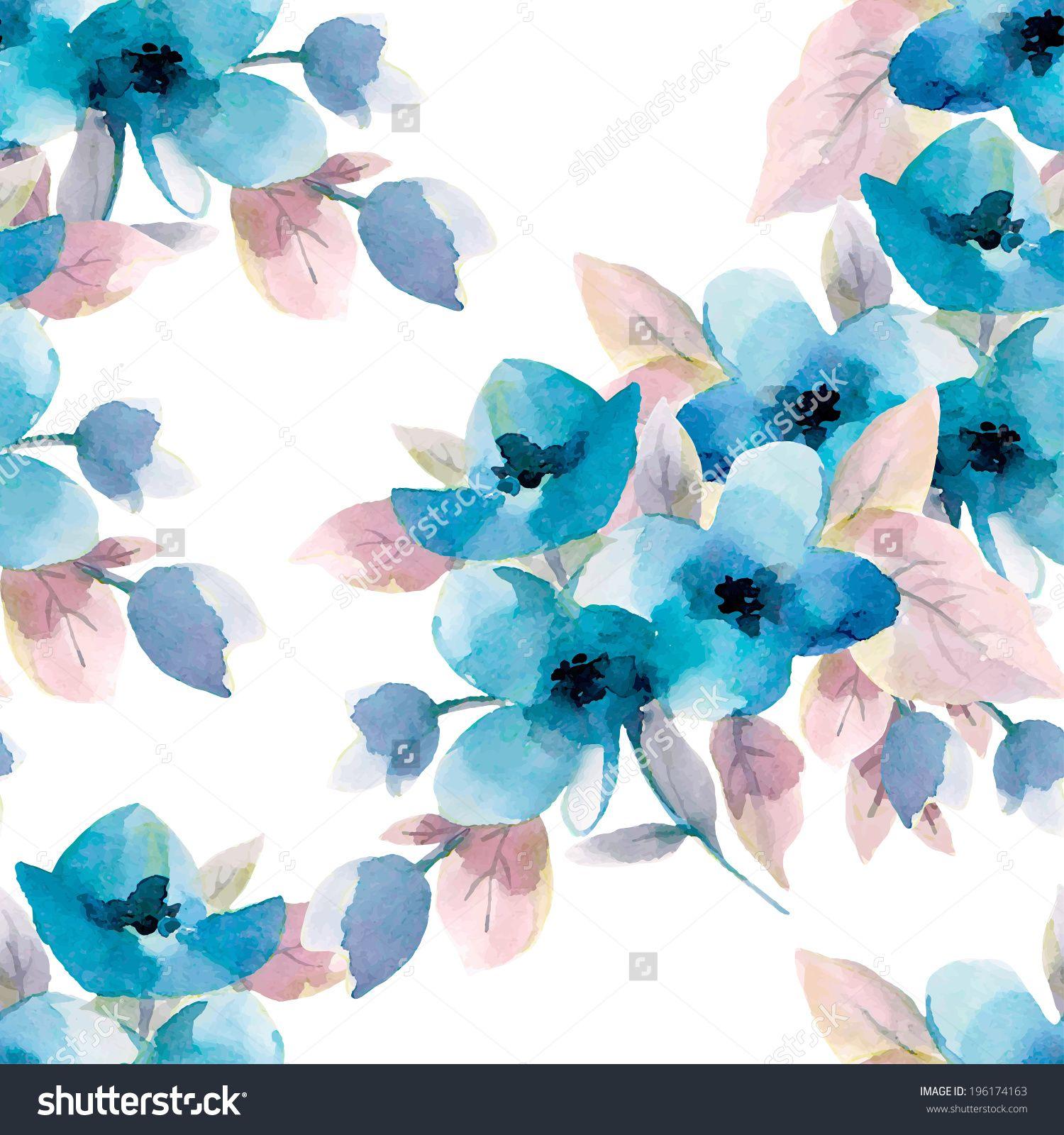 2018 年の watercolor seamless pattern with blue flowers フラワー