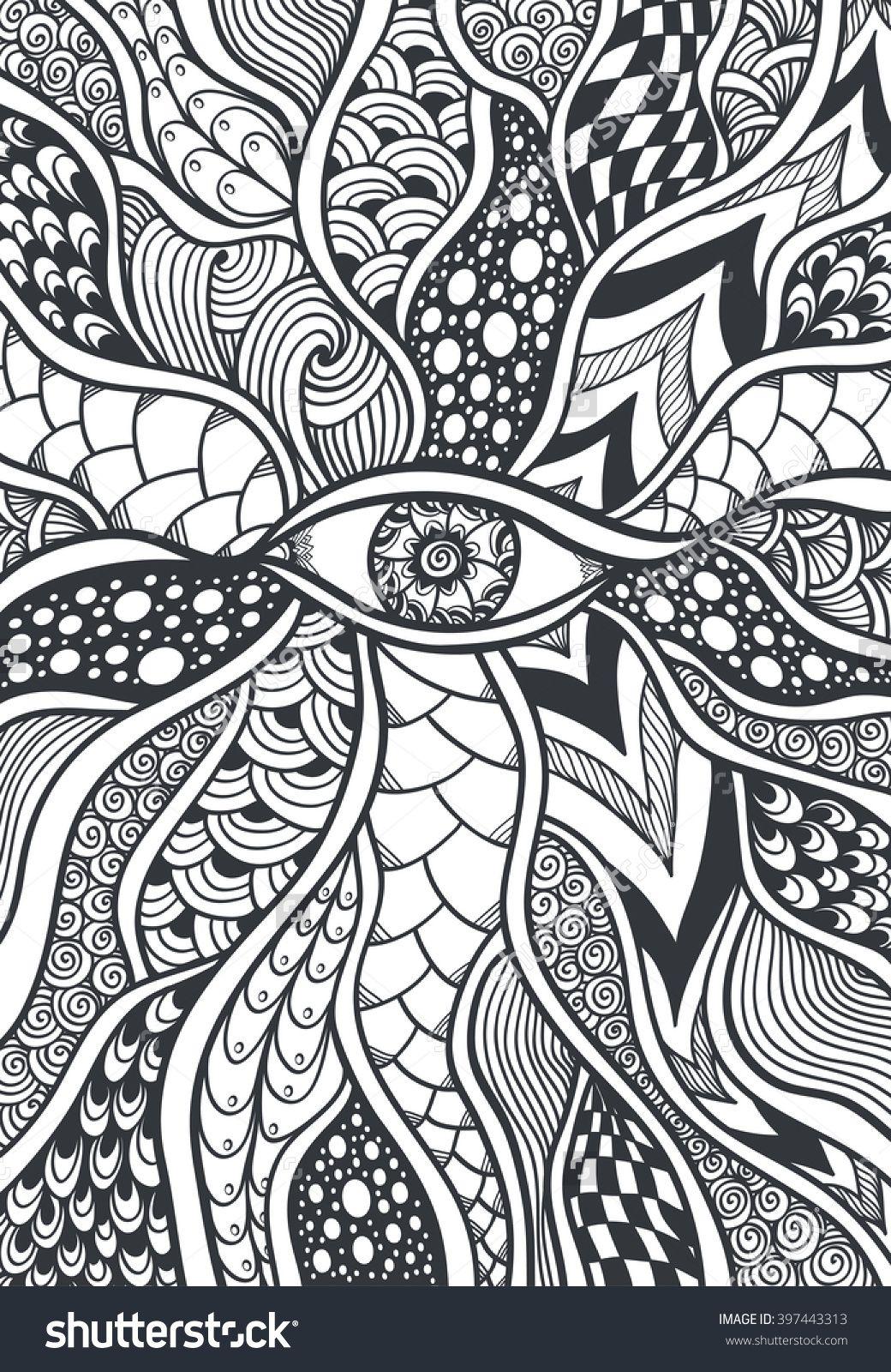 Zen Doodle Eye Coloring Page 397443313 Shutterstock Doodle