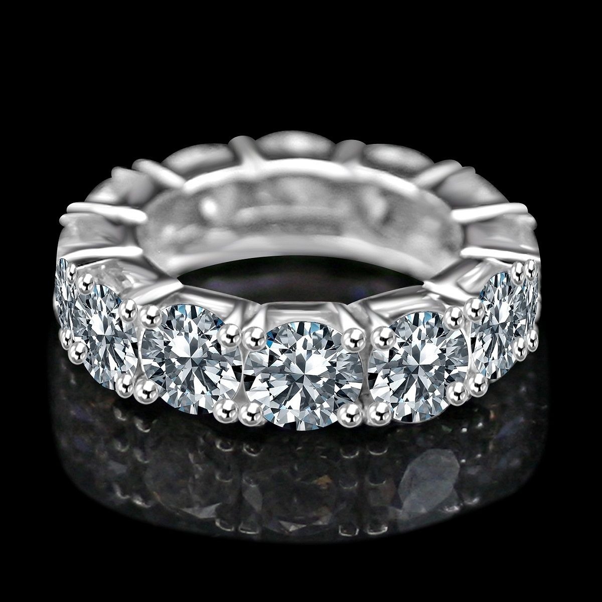 7ct tw 55 mm radiant round prong set all around classic eternity