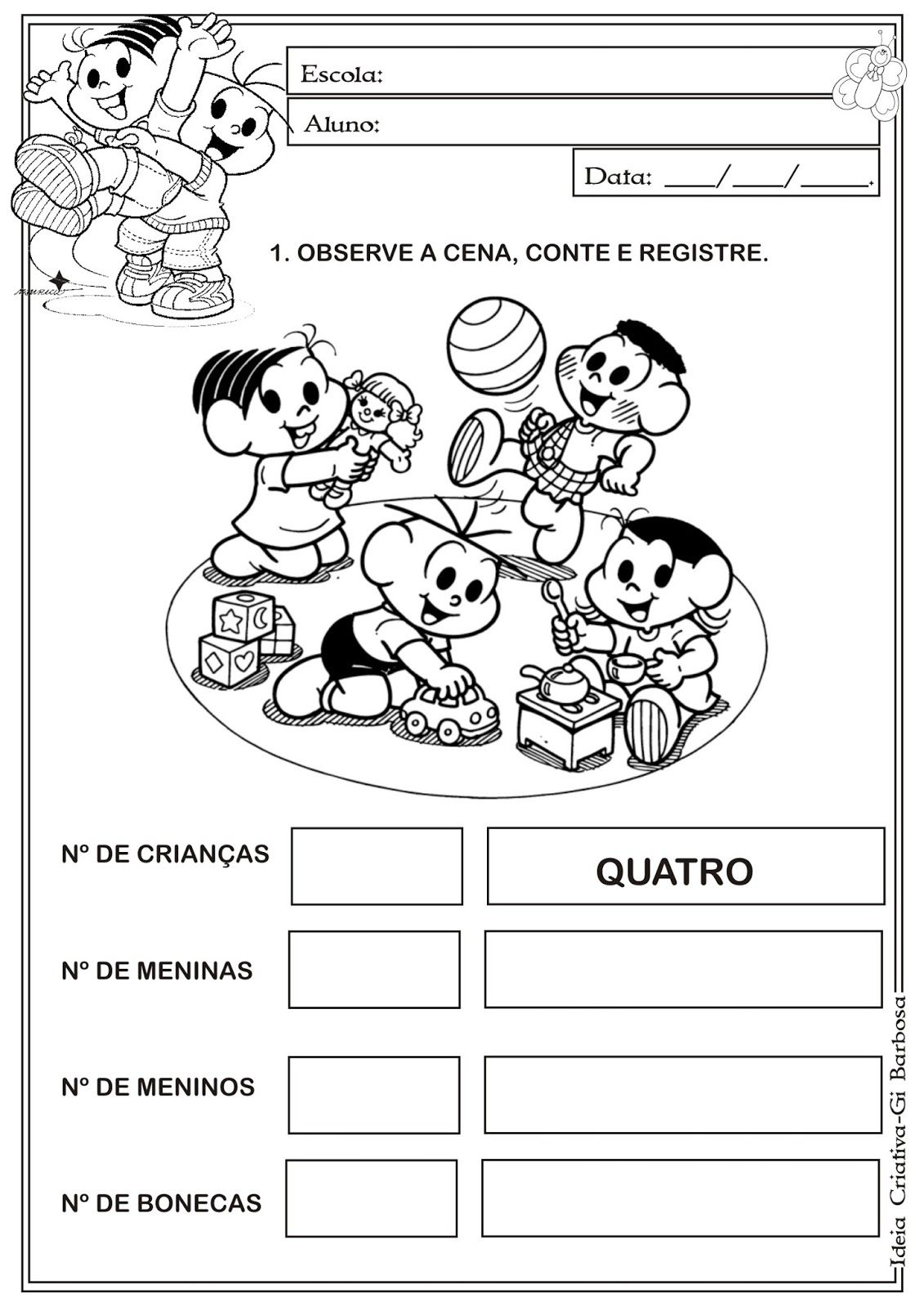 Atividade Matematica Educacao Infantil Turma Da Monica Educacao