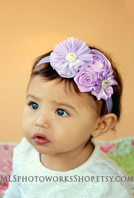 Lovely Layers of Lavender Satin Chiffon Headband Baby Girl Light