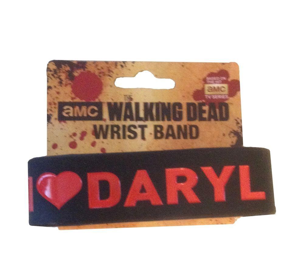 AMC The Walking Dead I Heart Daryl Logo Black PVC Rubber Wristband New Licensed