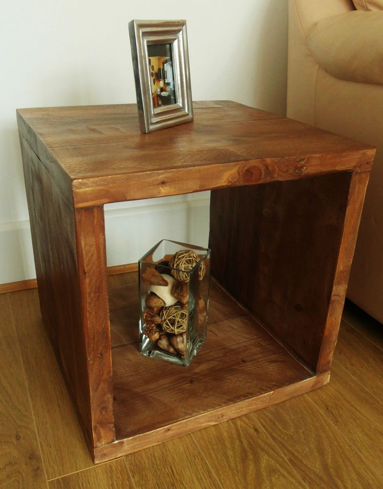 Rustic Chunky Solid Wood Cube Table Coffee Side End