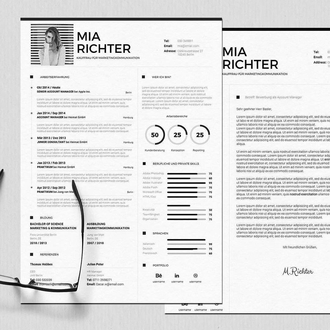 Bewerbungsvorlage - Mrs. Richter #bewerben #karriere #kreativ ...