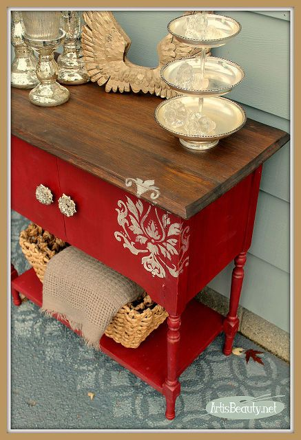 Rescued Cabinet Turned Red Diva #kitchenfurniture