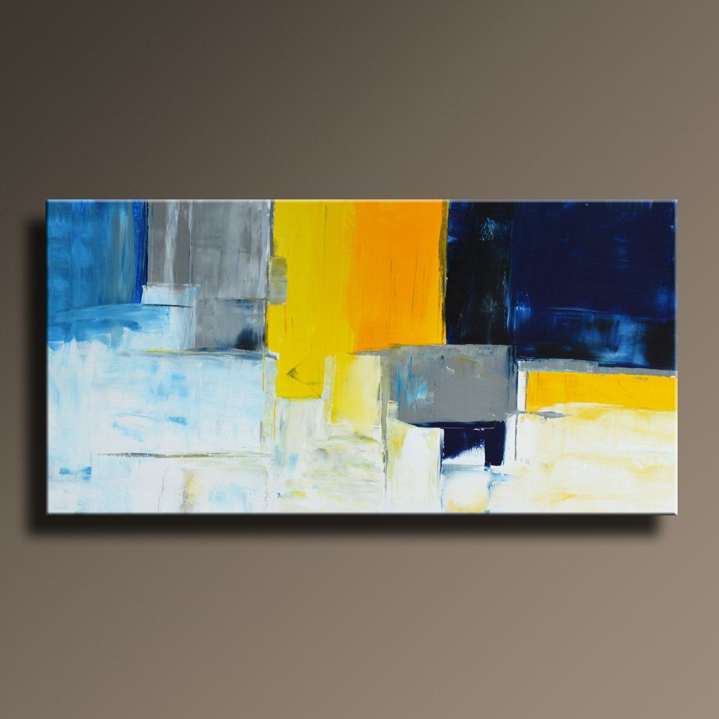 abstract painting blue yellow gray white painting original painting canvas art modern acrylic