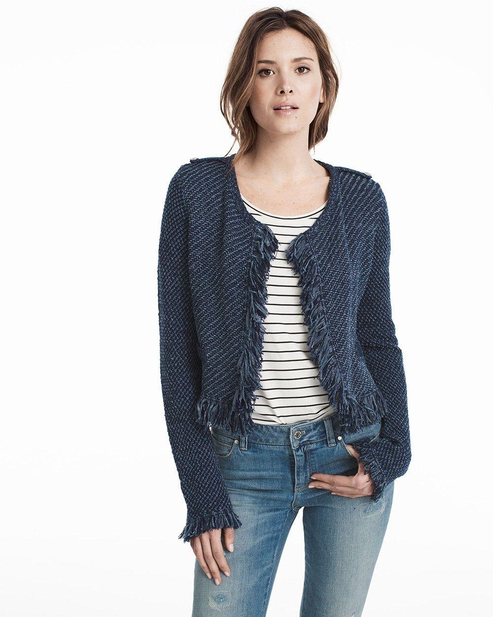 Long Sleeve Fringe Sweater Jacket