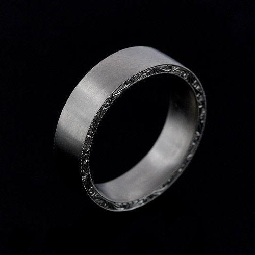 14K White Gold Satin Finish 6mm Wide Hand Engraved Mens Wedding Band