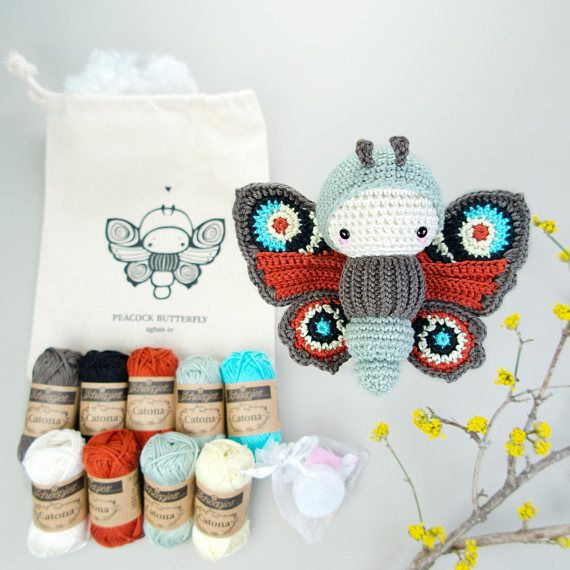 lalylala PEACOCK Butterfly Crochet Kit • all Materials in cotton ...