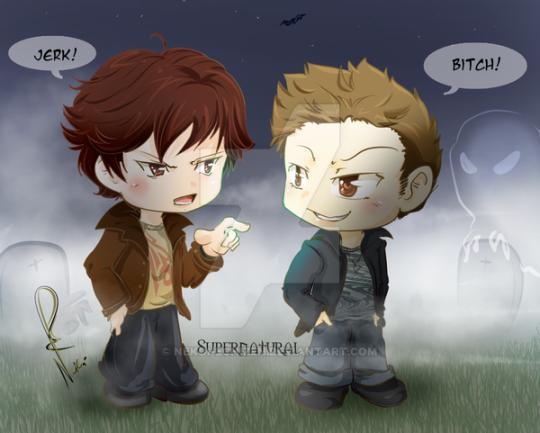 Rq Sam And Dean Chibi Spn By Nekoi Echizen Supernatural