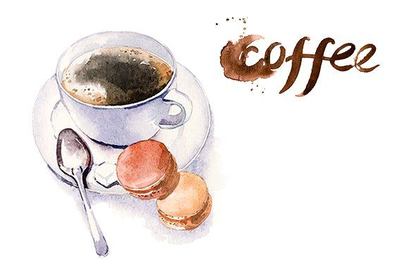 Watercolor Coffe Time Clipart Set Illustrations Coffe