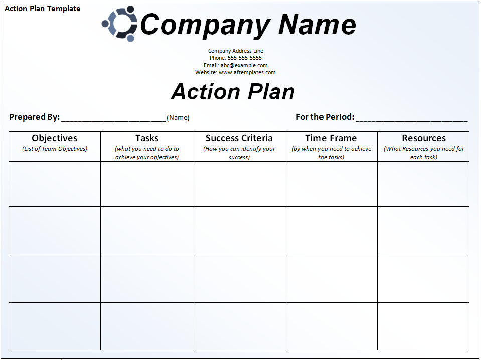 Great Business Action Plan Template.