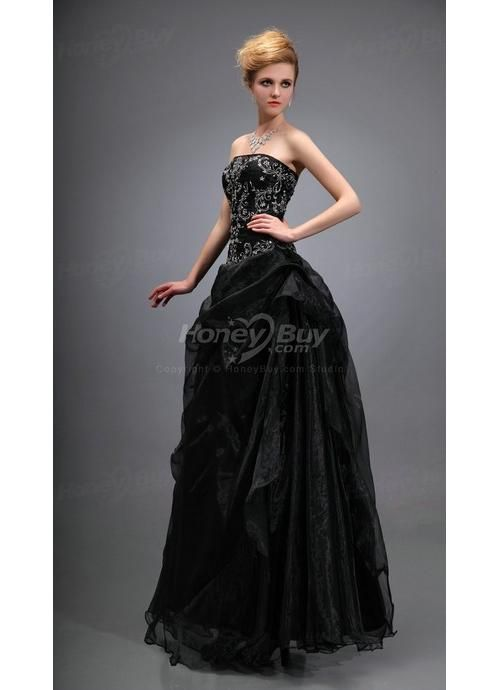 Elegant Strapless Embroidery Black Girl Prom Dresses 2013 | My ...