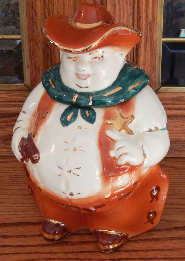 RARE Lane and Co of Los Angeles Cookie Jar - Heavy Gold Trim, Mid Century 1950