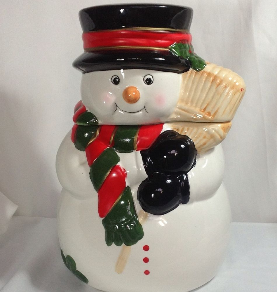 nice Snowman Kitchen Decor #7: Christmas Snowman Cookie Jar Ceramic Top Hat Holding Broom Kitchen Decor  Winter #alco