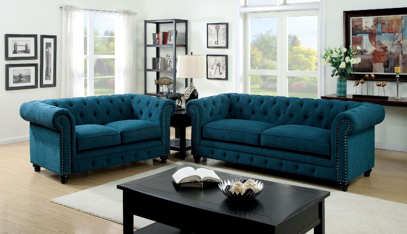 Stanford Blue Tufted Sofa Decoração Sala Estar Decoração Sala Sofá